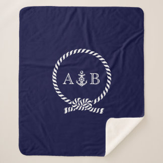 Navy Blue Rope and Anchor Monogrammed Sherpa Blanket