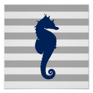 Navy Blue Seahorse Grey and White Stripes Poster