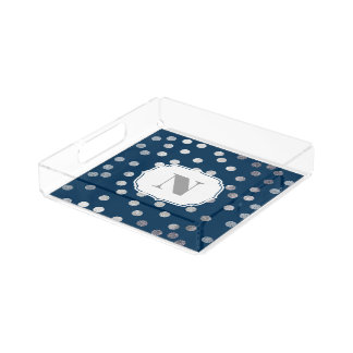 Serving Trays - Navy Blue Silver Glitter City Dots Monogram Tray