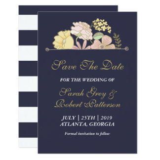 Navy Blue Spring Flower Wedding Save The Date Card