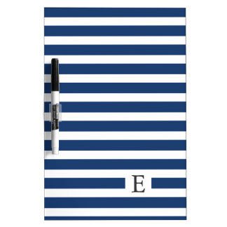 Navy Blue Striped Monogram Whiteboard Dry-Erase Boards