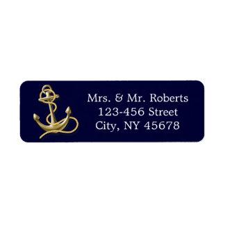 navy blue stripes gold anchor nautical wedding return address label