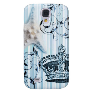 navy blue stripes starfish seashell crown nautical galaxy s4 case