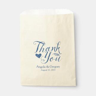 Navy Blue Thank You Wedding Favor Bag
