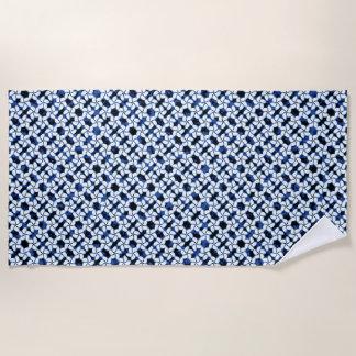 Navy Blue Tile Dark Kumo Shibori Tiling Textile Beach Towel