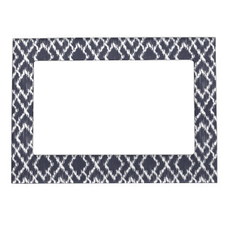 Navy Blue Tribal Print Ikat Geo Diamond Pattern Magnetic Picture Frame