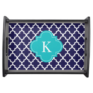 Navy Blue Turquoise Quatrefoil Pattern & Monogram Serving Tray
