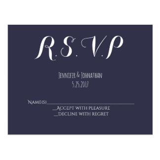 Navy blue typography wedding RSVP postcards