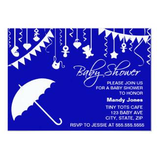 Navy blue umbrella modern baby shower invitations