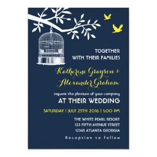 Navy Blue Vintage Bird Cage Wedding Invitation