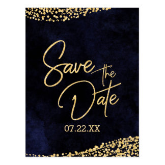 Navy Blue Watercolor & Gold Wedding Save the Date Postcard