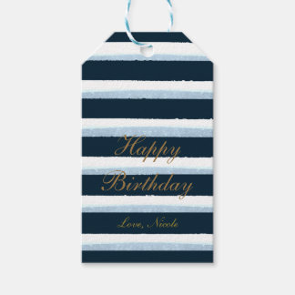 Navy Blue Watercolor Stripes Elegant Chic Gift Tag