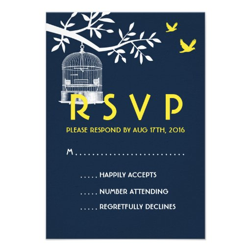 Navy Blue Wedding RSVP Card Vintage Bird Cage
