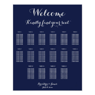 Navy Blue Wedding Seating Chart Poster 16x20