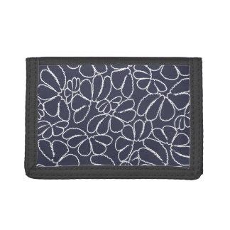 Navy Blue Whimsical Ikat Floral Doodle Pattern Tri-fold Wallet