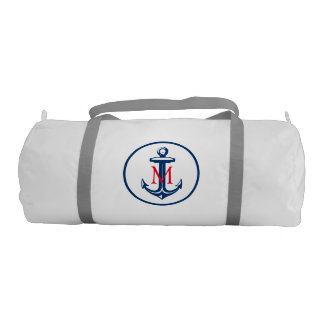 Navy Blue White Anchor and Monogram Gym Duffel Bag