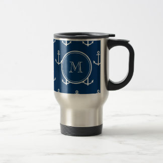 Navy Blue White Anchors Pattern, Your Monogram Travel Mug