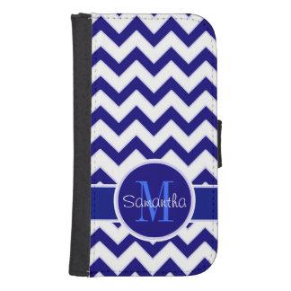 Navy Blue &White Chevron Pattern Custom Monogram Samsung S4 Wallet Case