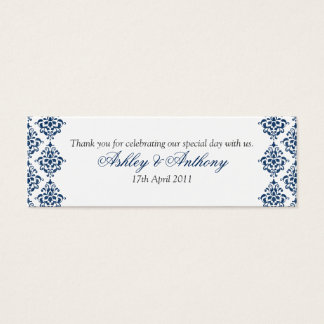 Navy Blue White Damask Floral Wedding Favour Tags