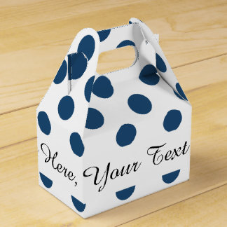 Navy Blue White Polka Dots Pattern Favour Boxes