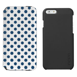 Navy Blue White Polka Dots Pattern Incipio Watson™ iPhone 6 Wallet Case