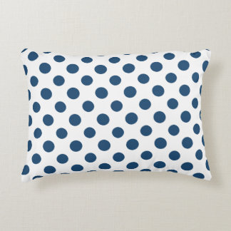 Navy Blue White Polka Dots Pattern Accent Pillow