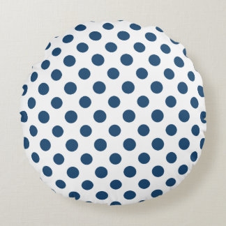 Navy Blue White Polka Dots Pattern Round Pillow