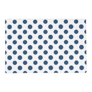 Navy Blue White Polka Dots Pattern Laminated Placemat