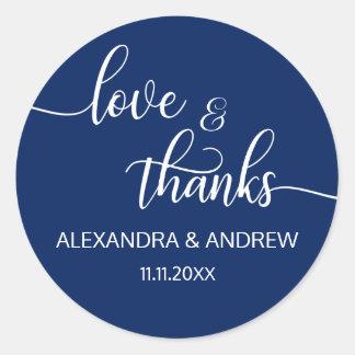 Navy Blue White Script Wedding Love & Thanks Classic Round Sticker