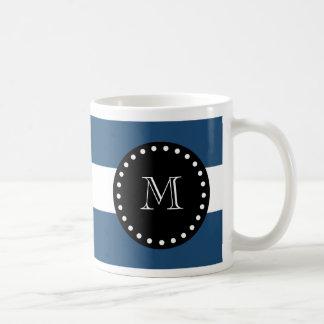 Navy Blue White Stripes Pattern, Black Monogram Mugs