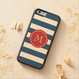 Navy Blue White Stripes Pattern, Red Monogram Carved Maple iPhone 6 Bumper Case