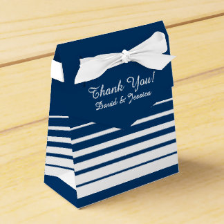 Navy blue & white stripes wedding favor box party favour box