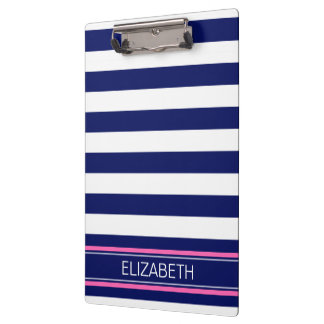 Navy Blue Wht Horiz Stripe Hot Pink Name Monogram Clipboard