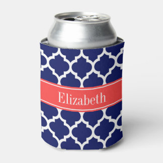 Navy Blue Wht Moroccan #5 Coral Red Name Monogram Can Cooler