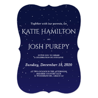Navy Blue Winter Wedding Invitation