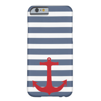 Navy Blue with White Stripes and Red Anchor Case Barely There iPhone 6 Case