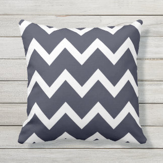 Navy Blue Zigzag Chevron Pattern Outdoor Pillows