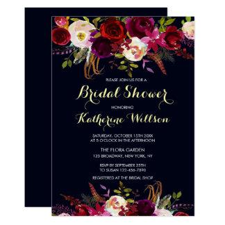 Navy Burgundy Marsala Rustic Fall Bridal Shower Card