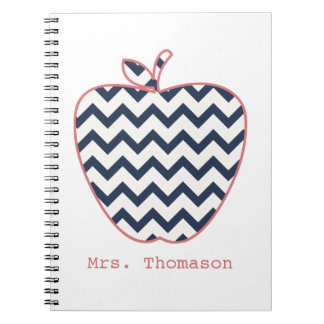 Navy Chevron & Coral Teacher Apple Notebook