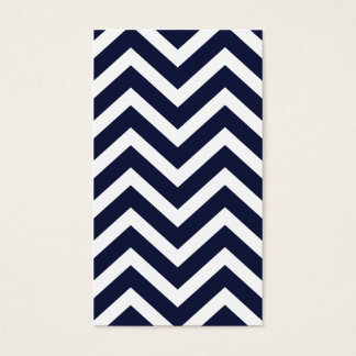 Navy Chevron Striped Simple Plain Business Card