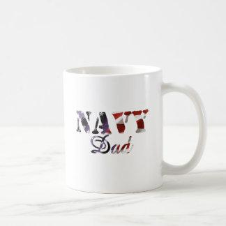 Navy Dad American Flag Basic White Mug