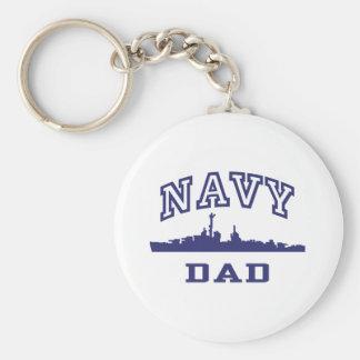 Navy Dad Basic Round Button Key Ring