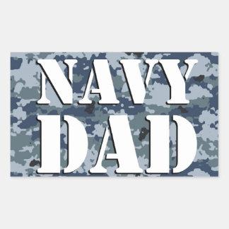 Navy Dad Camouflage Rectangular Rectangular Sticker