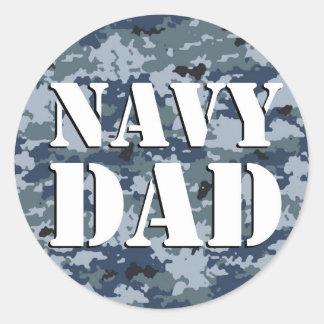 Navy Dad Camouflage Round Round Sticker