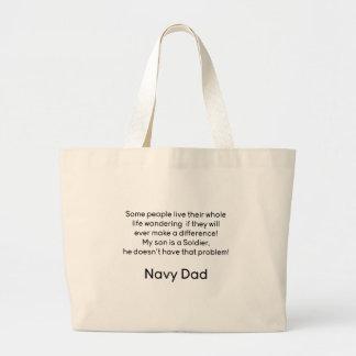 Navy Dad No problem Son Canvas Bags