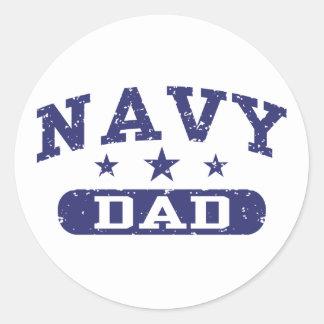 Navy Dad Round Sticker