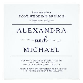 Navy Elegance   Minimalist Post Wedding Brunch Card