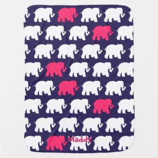 Navy elephants custom baby blanket