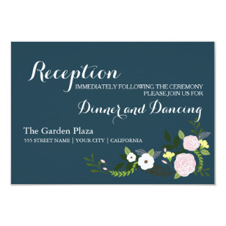Navy floral Garden Reception Card