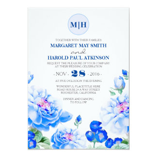 Navy Floral Vintage Elegant Garden Wedding 13 Cm X 18 Cm Invitation Card